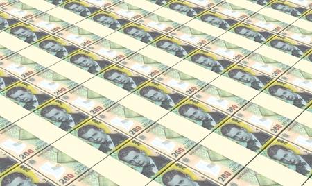 leu: Romanian leu bills stacks background.