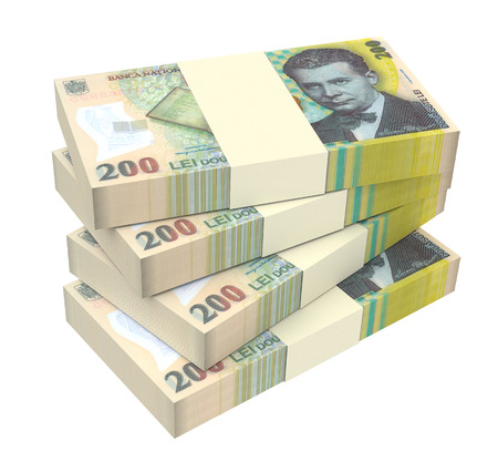 Romanian currency isolated on white background. Computer generated 3D photo rendering. Stock Photo