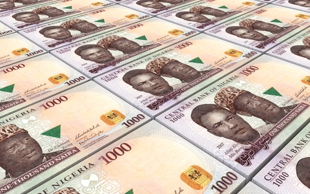 bills: Nigerian nairas bills stacks background.