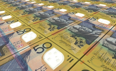 fifty dollar bill: Australian dollar bills stacked background. Stock Photo