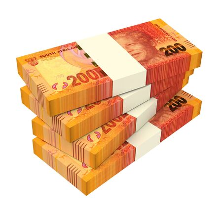 wads: South African rands isolated on white background. Computer generated 3D photo rendering.