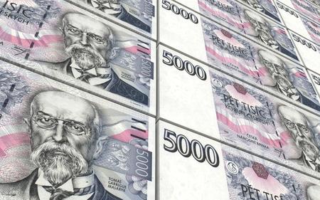 koruna: Czech koruna bills stacks background.