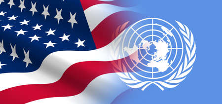 united nations: The concept of political relationships the United States with the United Nations. Stock Photo