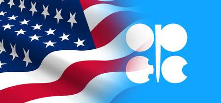 opec: The concept of political relationships the United States with OPEC. Stock Photo