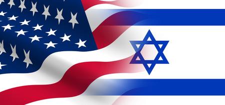 banderas america: El concepto de las relaciones políticas de los Estados Unidos con Israel. Foto de archivo