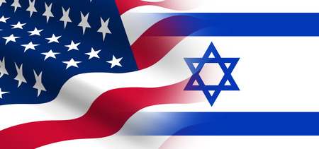 american flags: The concept of political relationships the United States with Israel.