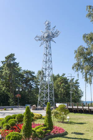 giewont: A replica of the cross of Giewont from the Tatra Mountains placed over the Baltic sea in Pustkowo, Poland
