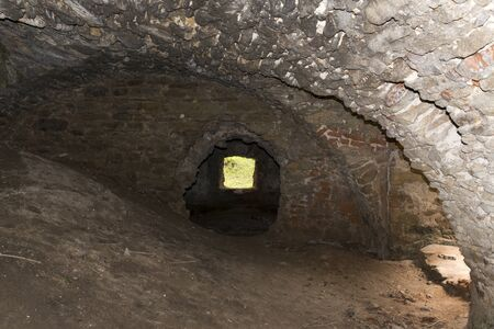 Underground ruins of an ancient castle from the fourteenth century in Pankow. Lower Silesia, Poland Stock Photo