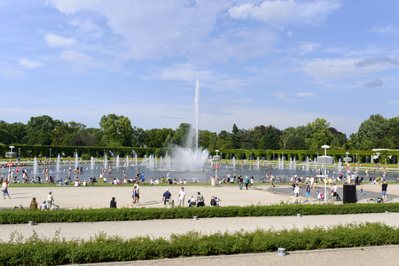 hottest: People cooling using public fountains in the hottest day on 19 July 2015 in Wroclaw, Poland. In this year there was a record high temperature in Wroclaw.