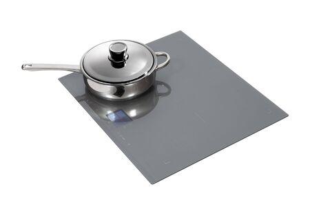 control panel: Placa de inducci�n gris con panel de control t�ctil aislado en blanco.