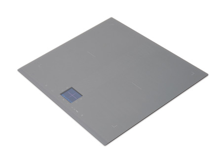 major household appliance: Gray induction hob with touch control panel isolated on white.