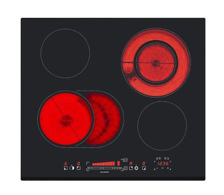control panel: Encimera el�ctrica con superficie de cer�mica y el panel de control t�ctil aislado en blanco.