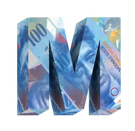 swiss franc: One letter from Swiss franc bill alphabet set isolated over white. Computer generated 3D photo rendering. Stock Photo