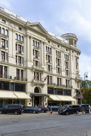 eclecticism: The luxurious five-star hotel Bristol isnt since 1901 at the famous Krakowskie Przedmiescie street on 16 September 2015 in Warsaw, Poland.