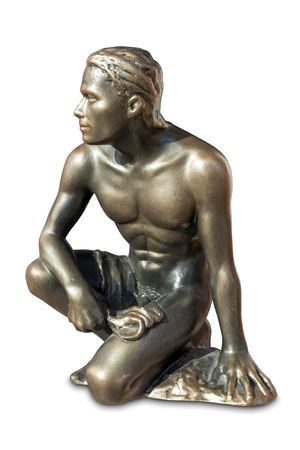 naked statue: Bronze statue of a naked man resting with clipping path. Stock Photo