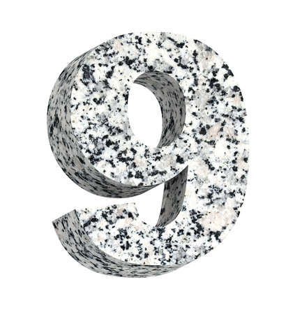 writing materials: Number from granite alphabet set isolated over white. Computer generated 3D photo rendering.