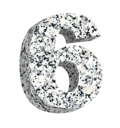 granite: Number from granite alphabet set isolated over white. Computer generated 3D photo rendering.