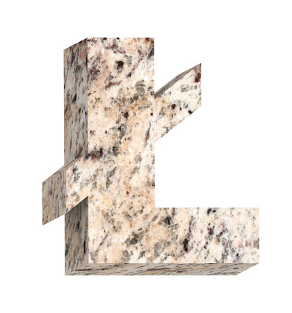 pound sign: Pound sign from granite alphabet set isolated over white. Computer generated 3D photo rendering.