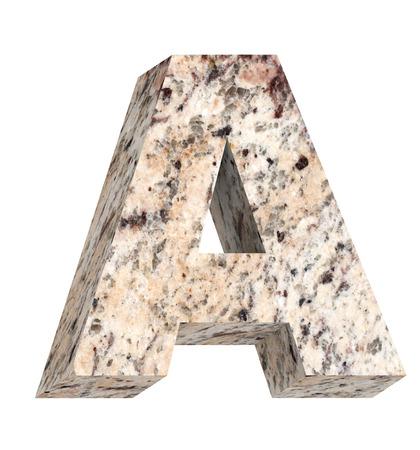 lettre alphabet: Une lettre de l'alphabet ensemble de granit isol� sur blanc. Photo g�n�r�e par ordinateur 3D rendu. Banque d'images