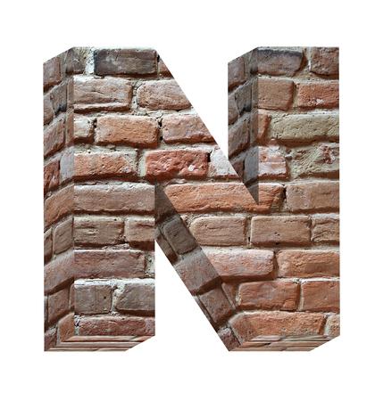 cartas antiguas: Una carta del antiguo conjunto de alfabeto de ladrillo, aislado en blanco. Procesamiento de fotos 3D generados por ordenador.  Foto de archivo