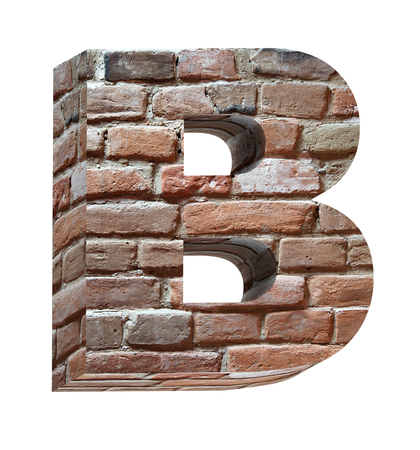 bumpy: One letter from old brick alphabet set, isolated on white. Computer generated 3D photo rendering.