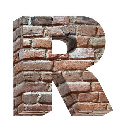 brick sign: One letter from old brick alphabet set, isolated on white. Computer generated 3D photo rendering.