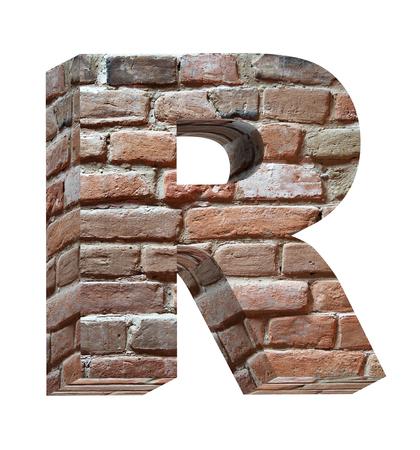 lettre alphabet: Une lettre du vieil ensemble de briques alphabet, isol�es sur fond blanc. G�n�r�e par ordinateur de rendu 3D photo.