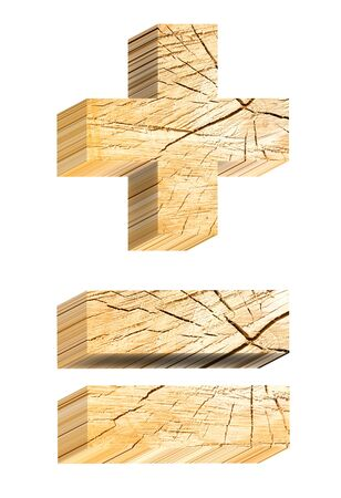 sawed: Signs from pine wood alphabet set isolated over white. Computer generated 3D photo rendering.