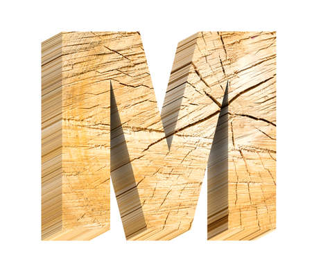 sawed: Letter from pine wood alphabet set isolated over white. Computer generated 3D photo rendering. Stock Photo