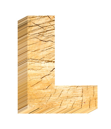 cut outs: Letter from pine wood alphabet set isolated over white. Computer generated 3D photo rendering. Stock Photo