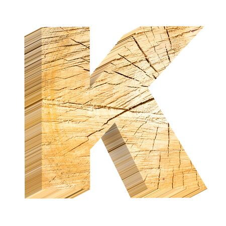 Log Out: Letter from pine wood alphabet set isolated over white. Computer generated 3D photo rendering. Stock Photo