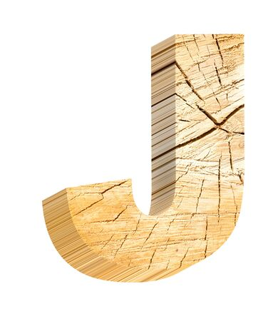 fallen tree: Letter from pine wood alphabet set isolated over white. Computer generated 3D photo rendering. Stock Photo