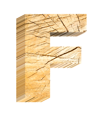 letter f: Letter from pine wood alphabet set isolated over white. Computer generated 3D photo rendering. Stock Photo