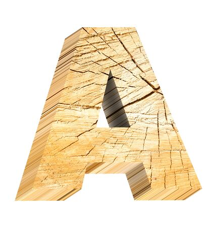 cross section of tree: Letter from pine wood alphabet set isolated over white. Computer generated 3D photo rendering. Stock Photo