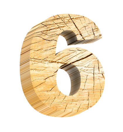 Number from wooden alphabet set isolated over white. Computer generated 3D photo rendering. Stock Photo