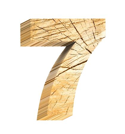 sawed: Number from wooden alphabet set isolated over white. Computer generated 3D photo rendering. Stock Photo