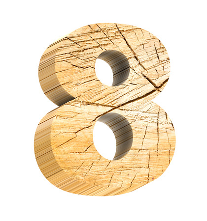 aging process: Number from wooden alphabet set isolated over white. Computer generated 3D photo rendering. Stock Photo