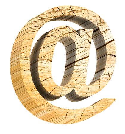 E-mail sign from pine wood alphabet set isolated over white. Computer generated 3D photo rendering.
