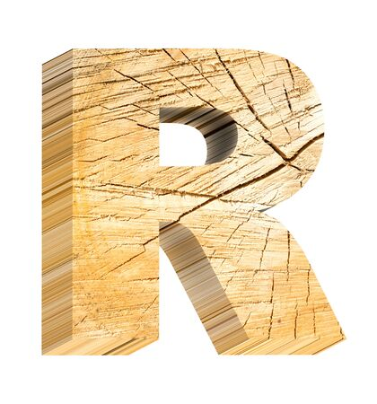 letter r: Letter from pine wood alphabet set isolated over white. Computer generated 3D photo rendering. Stock Photo