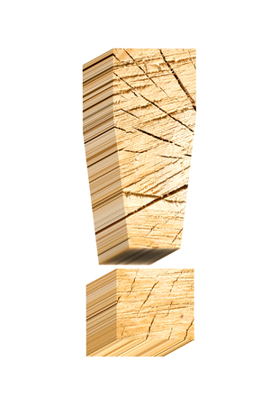 sawed: Exclamation mark from pine wood alphabet set isolated over white. Computer generated 3D photo rendering. Stock Photo