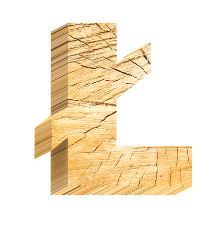 sawed: Pound sign from pine wood alphabet set isolated over white. Computer generated 3D photo rendering.