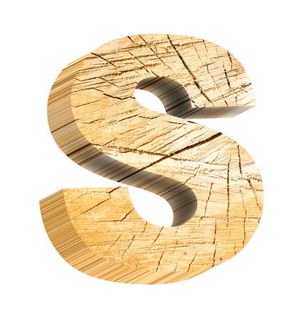 lettre s: Lettre de bois de pin alphabet ensemble isol� sur blanc. Photo g�n�r�e par ordinateur 3D rendu. Banque d'images