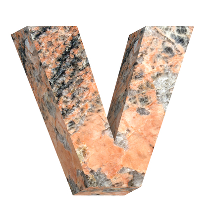 v shape: One letter from granite alphabet set isolated over white. Computer generated 3D photo rendering.
