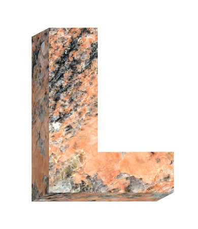 letter l: One letter from granite alphabet set isolated over white. Computer generated 3D photo rendering.
