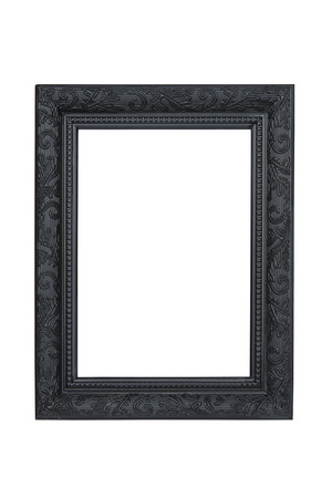 pictures: Black carved picture frame isolated over white with clipping path. Stock Photo