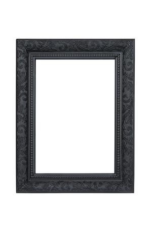 marcos decorados: Negro el marco tallado aislado m�s de blanco con saturaci�n camino. Foto de archivo