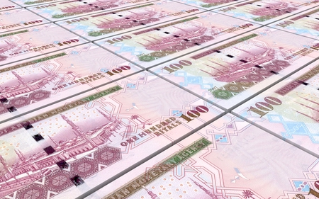 arabic currency: Saudi rials bills stacked background. Computer generated 3D photo rendering.