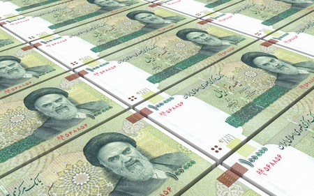 iranian: Iranian rials bills stacked background. Computer generated 3D photo rendering.