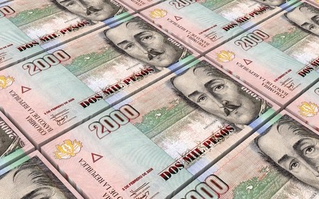 colombian: Colombian pesos bills stacked background. Computer generated 3D photo rendering.