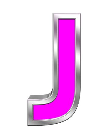 metal letters: One letter from pink with chrome frame alphabet set, isolated on white. Computer generated 3D photo rendering. Stock Photo